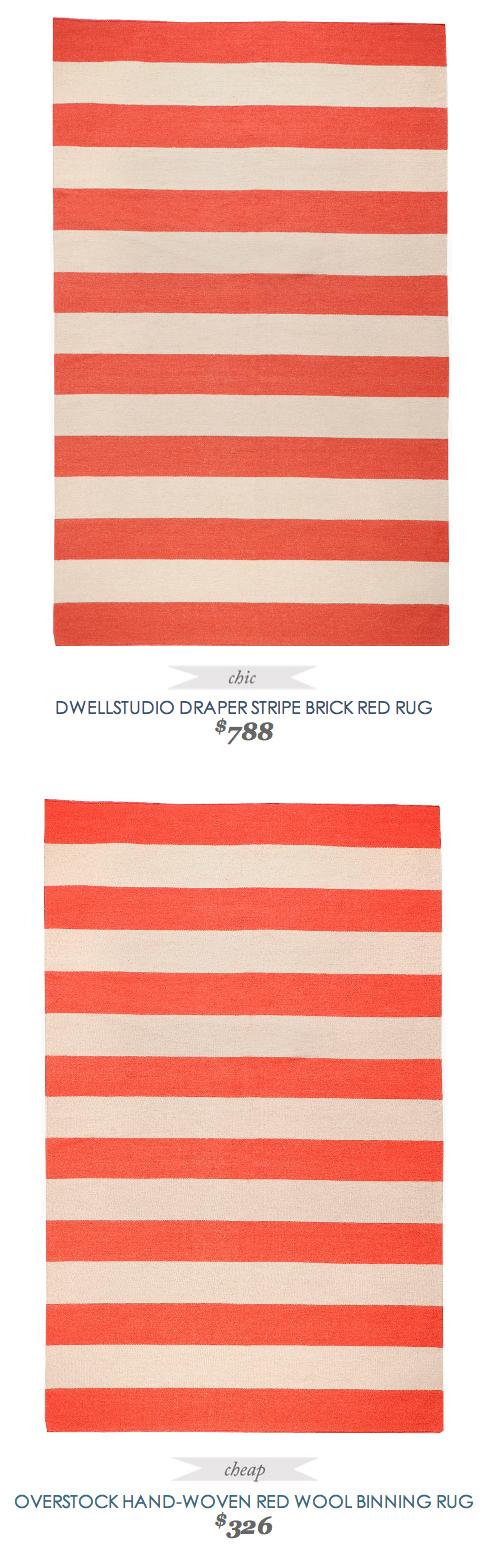 #CopyCatChicFind #DwellStudio Draper #Stripe Brick #Red #Rug $788   Vs