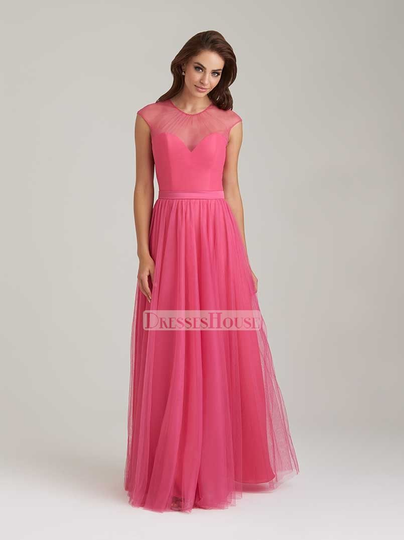 A-line Sweetheart illusion Cover Bodice Tulle and Satin Bridesmaid ...