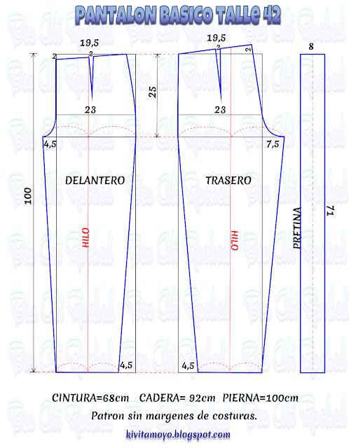 KiVita MoYo : PANTALON BASICO - Talle 42 | Patrones | Pinterest ...
