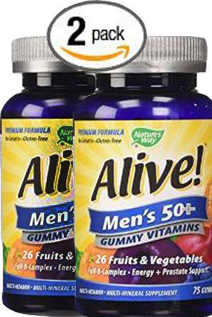 Pack of 2 75 count Natures Way Alive Mens 50 Plus Gummy MultiVitamins >>> Be sure to check out this awesome product.
