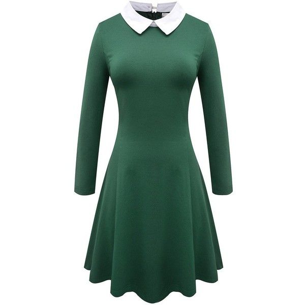 86264ffb6 Aphratti Women's Long Sleeve Casual Peter Pan Collar Flare Dress ($24) ❤  liked on Polyvore featuring dresses, longsleeve dress, long sleeve peter pan  ...