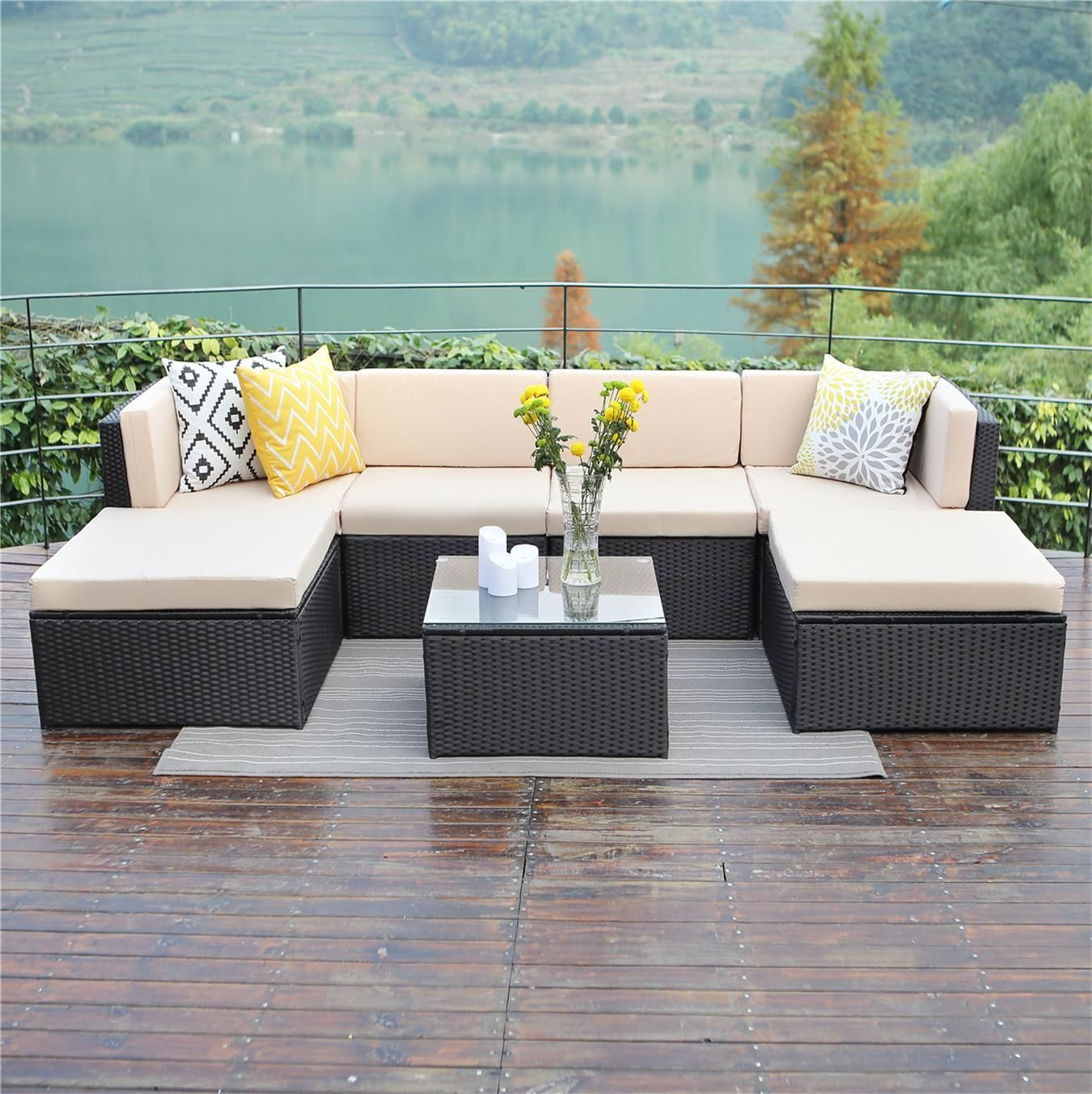 7 Piece Outdoor Rattan Wicker Patio Sofa Table Set Cushioned