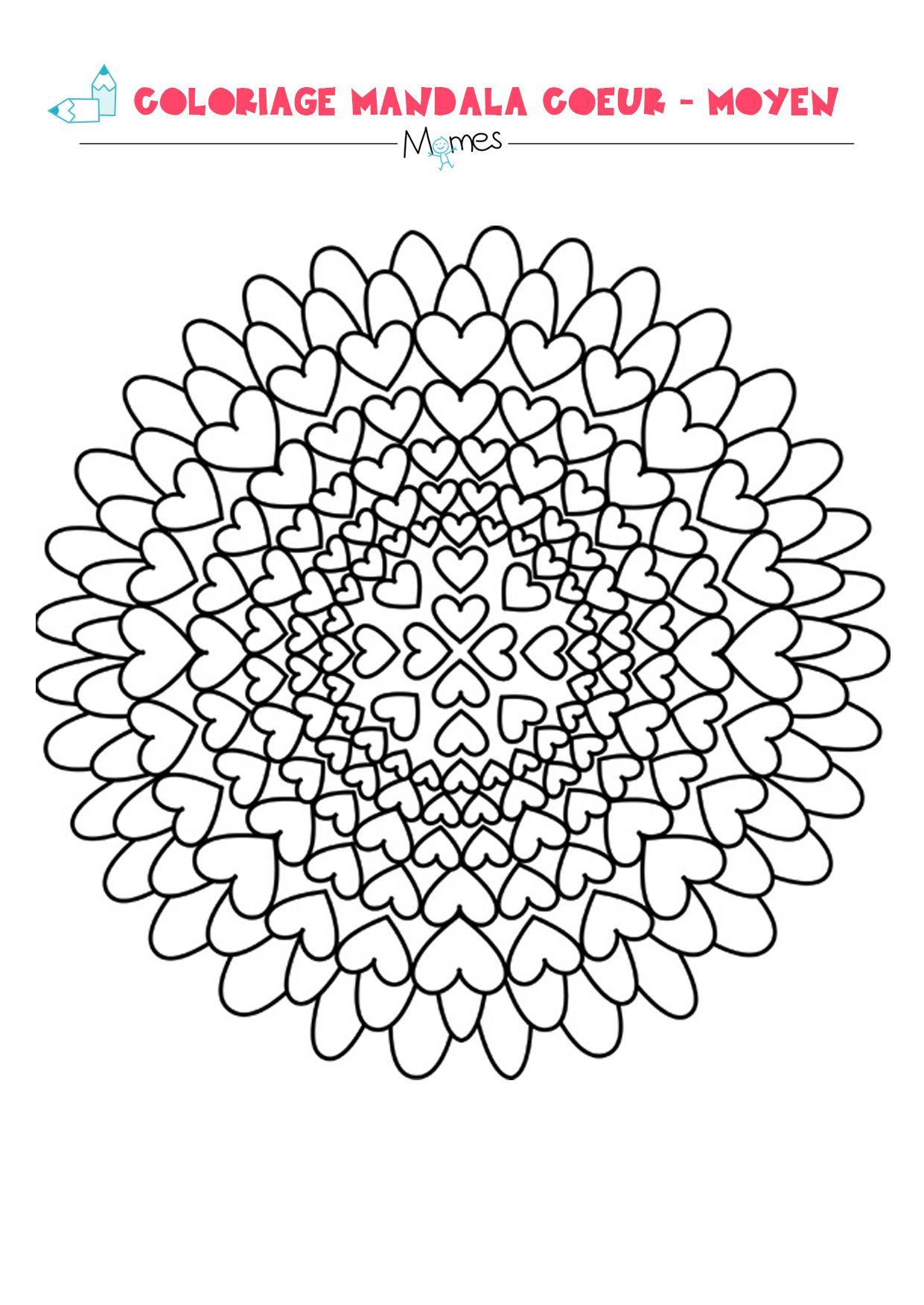 Mandala coeur  colorier facile