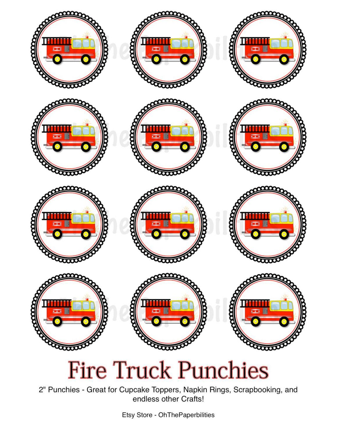 Digital Fire Truck And Firefighter Badge By Bydesigngraphics