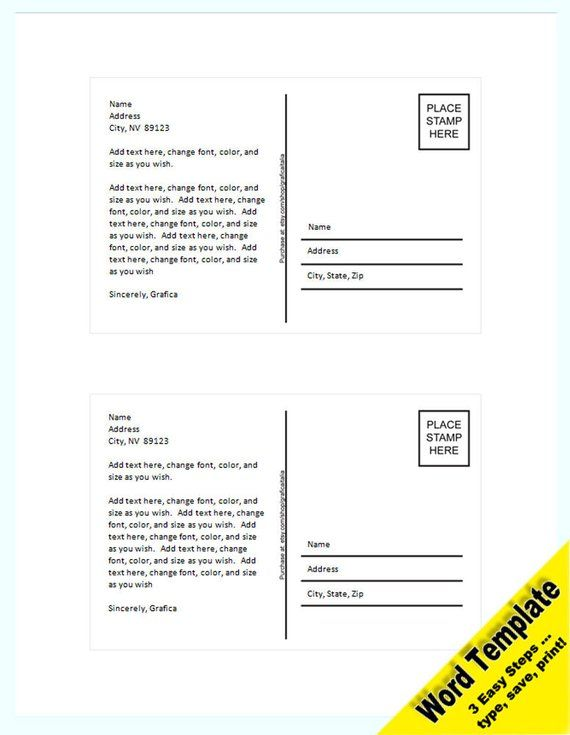 POSTCARD Editable WORD Template Add Your Photo And Text Printable Instant Download You EDIT Word