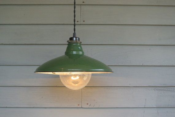 Antique porcelain enamel shade has been updated with a new ...