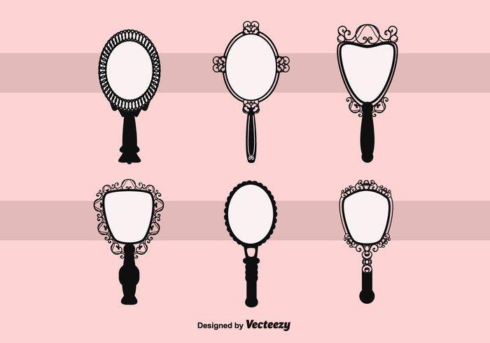 Free Vector Vintage Hand Mirror Clip Art Templates