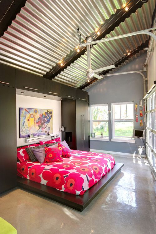 Corrugated metal A chic (and unexpected) covering for ceilings and - como decorar un techo de lamina