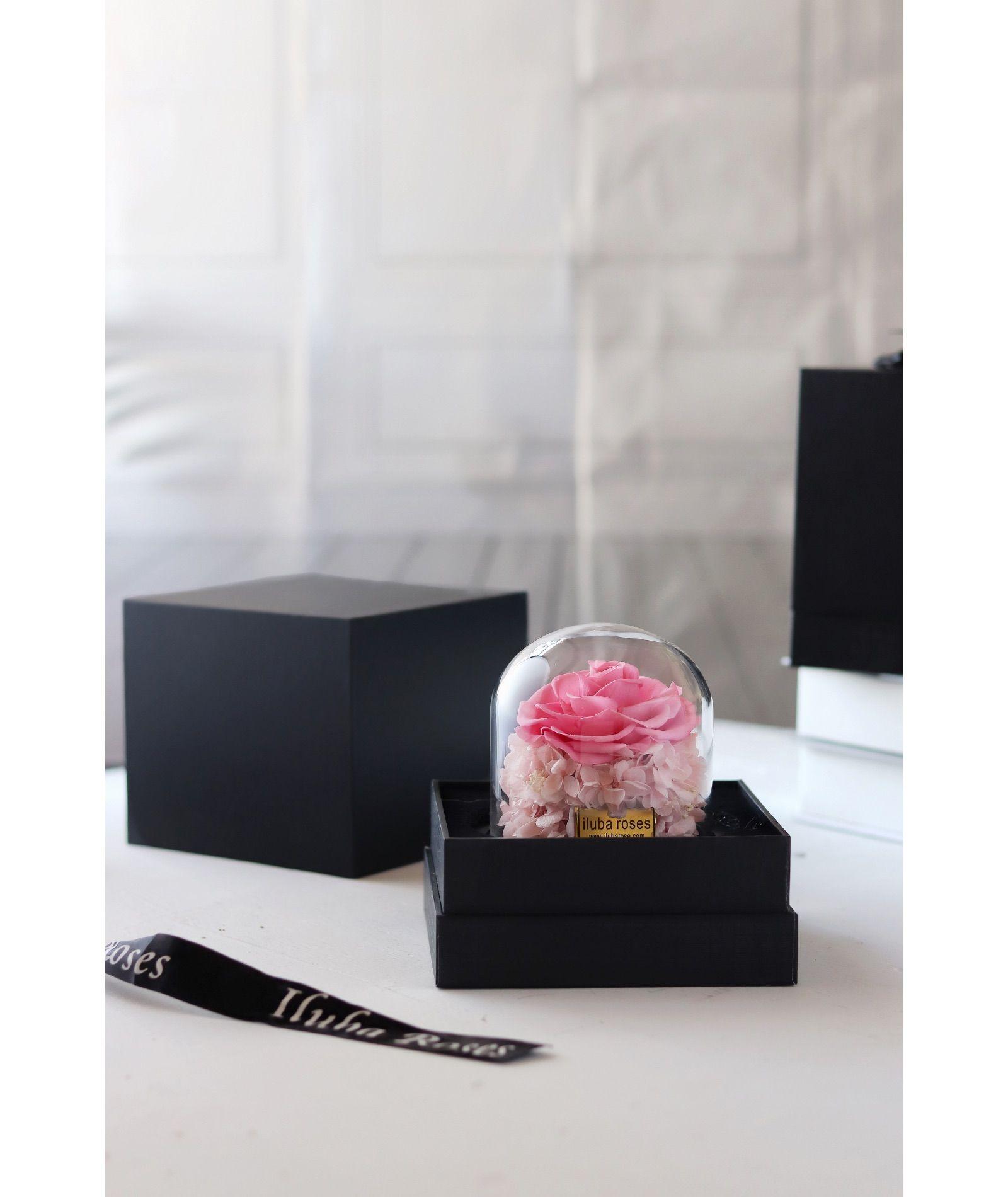 وردة ايلوبا روزز زهري دائمة داخل فازة زجاجية Decorative Boxes Decor Home Decor