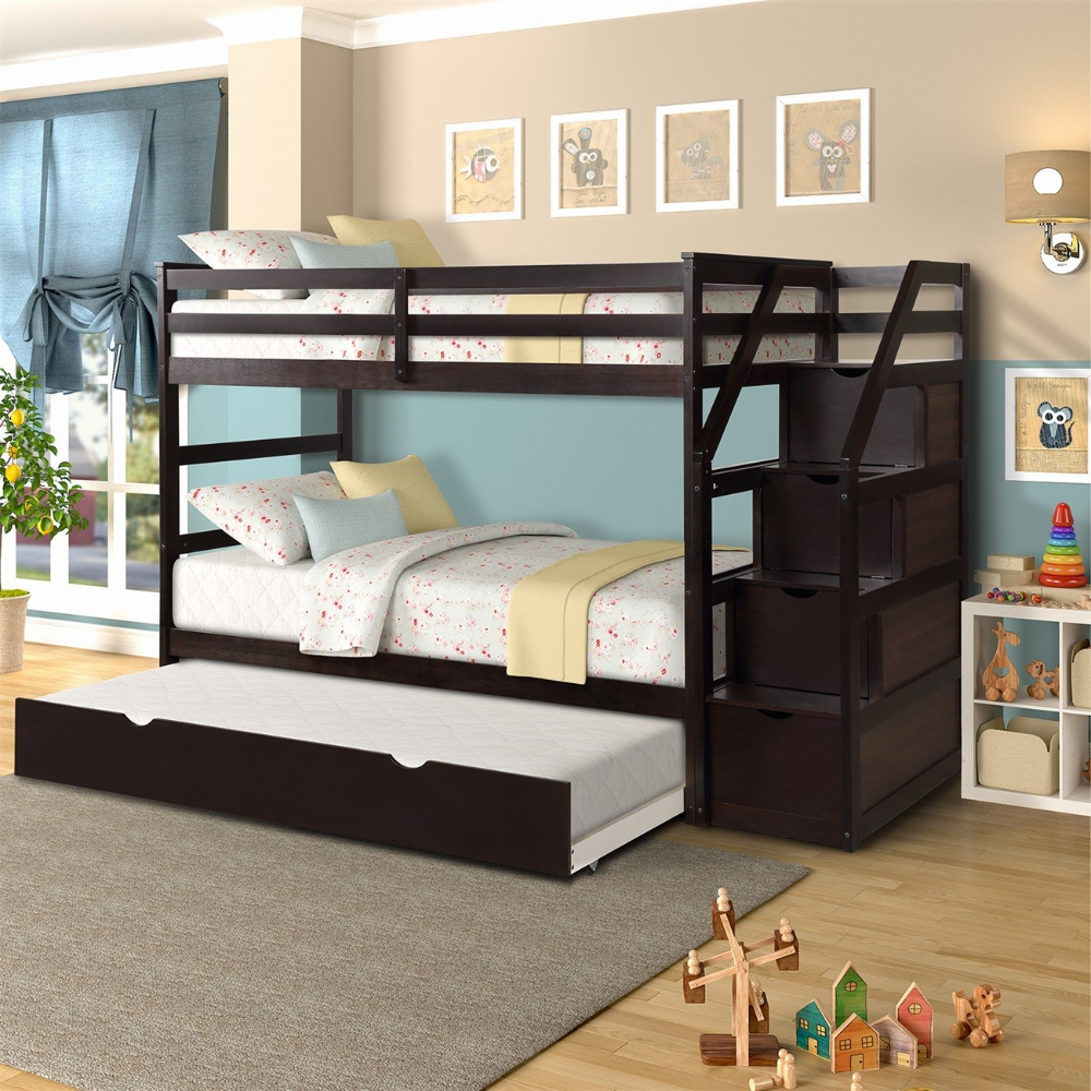 Modernluxe Twin Over Twin Stair Bunk Bed With Storage Ladder And Trundle Walmart Com Twin Bunk Beds Wood Bunk Beds Bunk Bed With Trundle Twin bunk bed with trundle