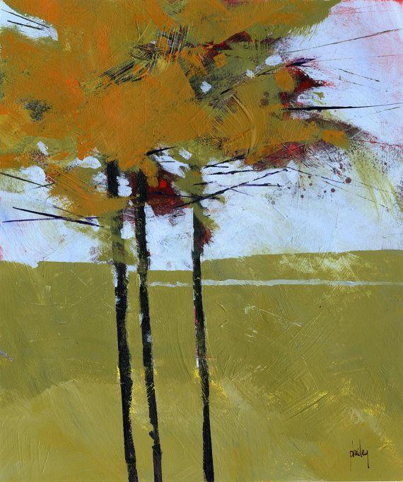 Original Woodland Painting Tree Semi Abstract Golden