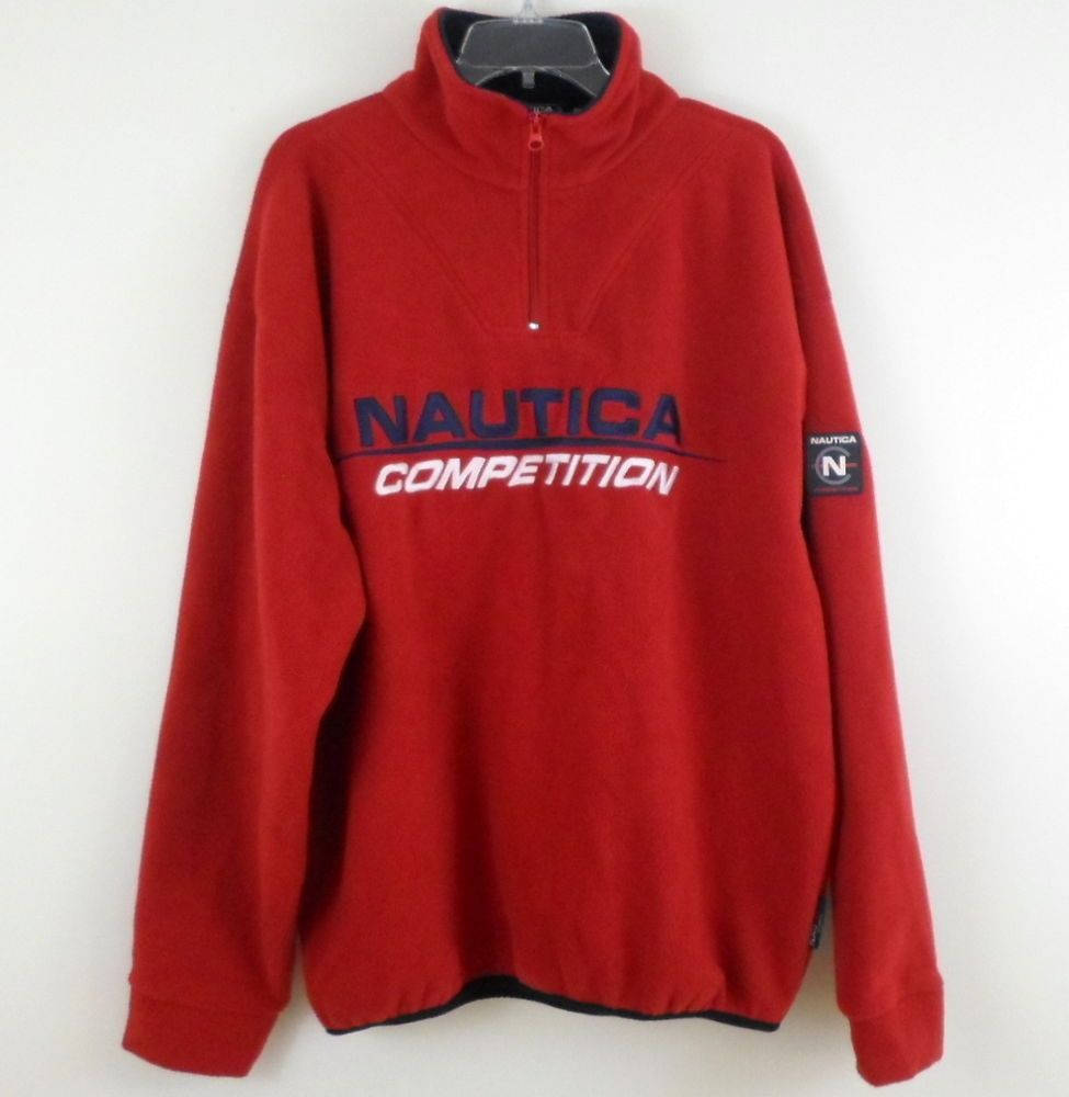 NAUTICA COMPETITION Red Graphic Fleece Pullover Jacket XL Quarter ...