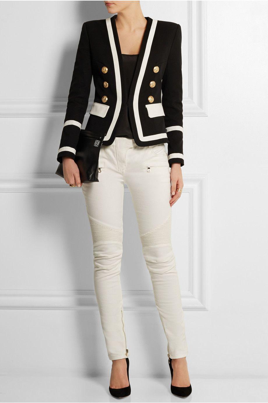 Balmain   Blazer en piqué de coton   NET-A-PORTER.COM   . fashion ... de938d3bfa14