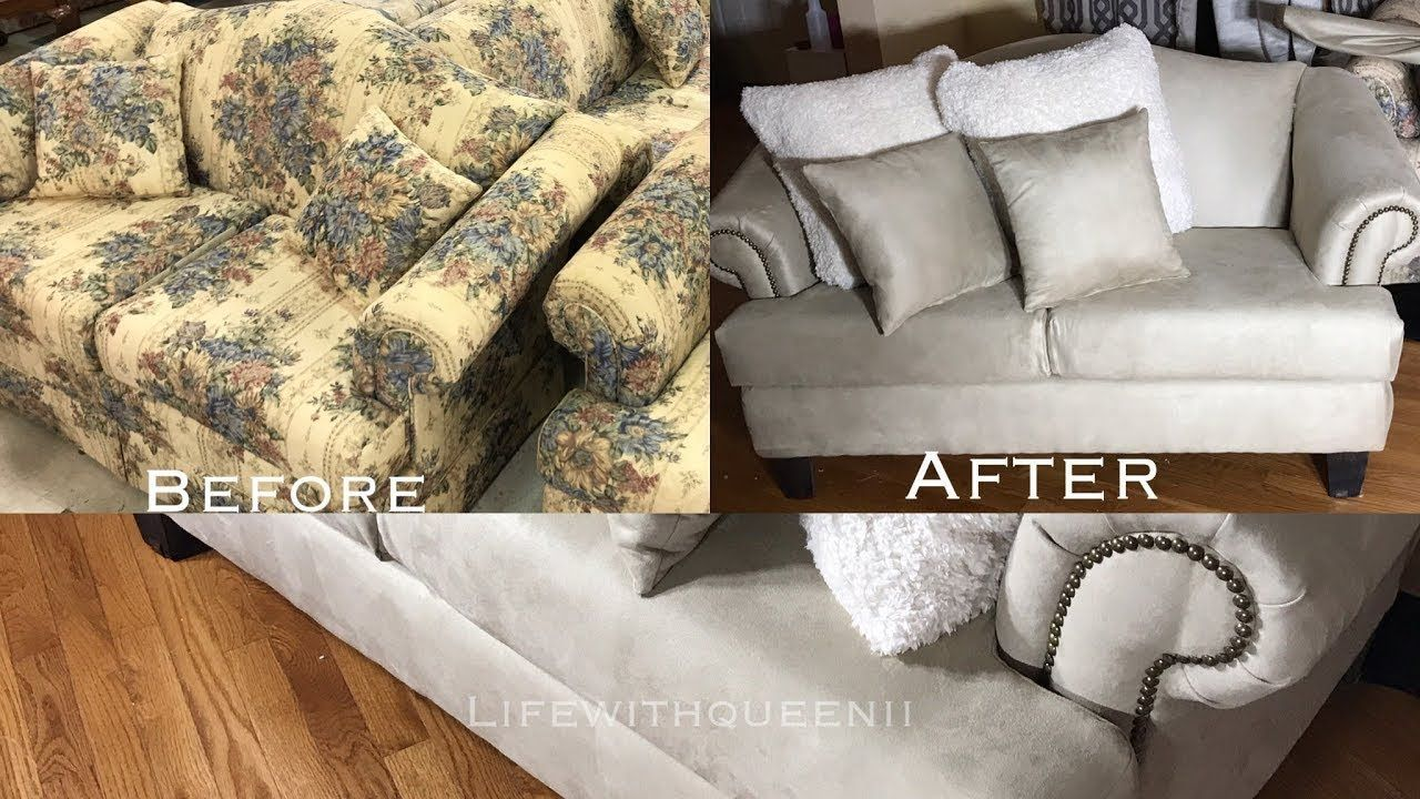 How To Reupholster A Couch Sofa Part 3 Lifewithqueenii Youtube Couch Fabric Sofa Reupholstered Reupholster Couch
