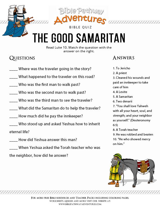 The Good Samaritan Quiz Free