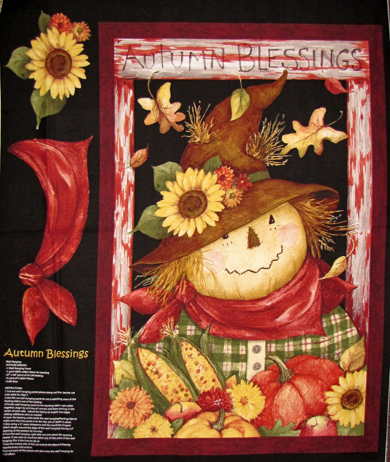 Autumn fabric scarecrow fall pumpkin sunflower blessings cp