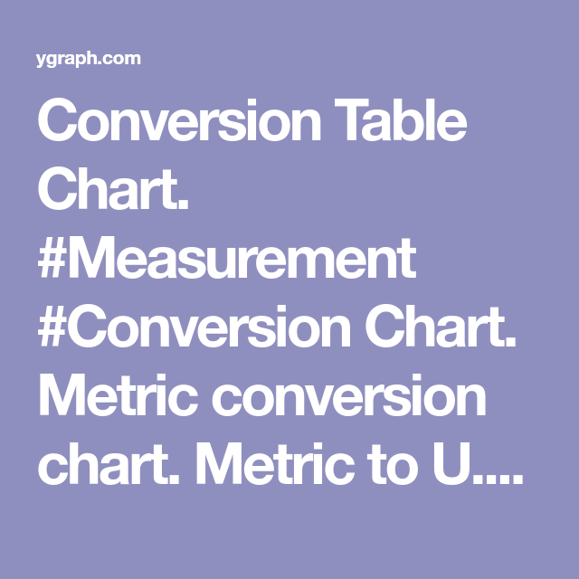 Conversion Table Chart Measurement Conversion Chart Metric