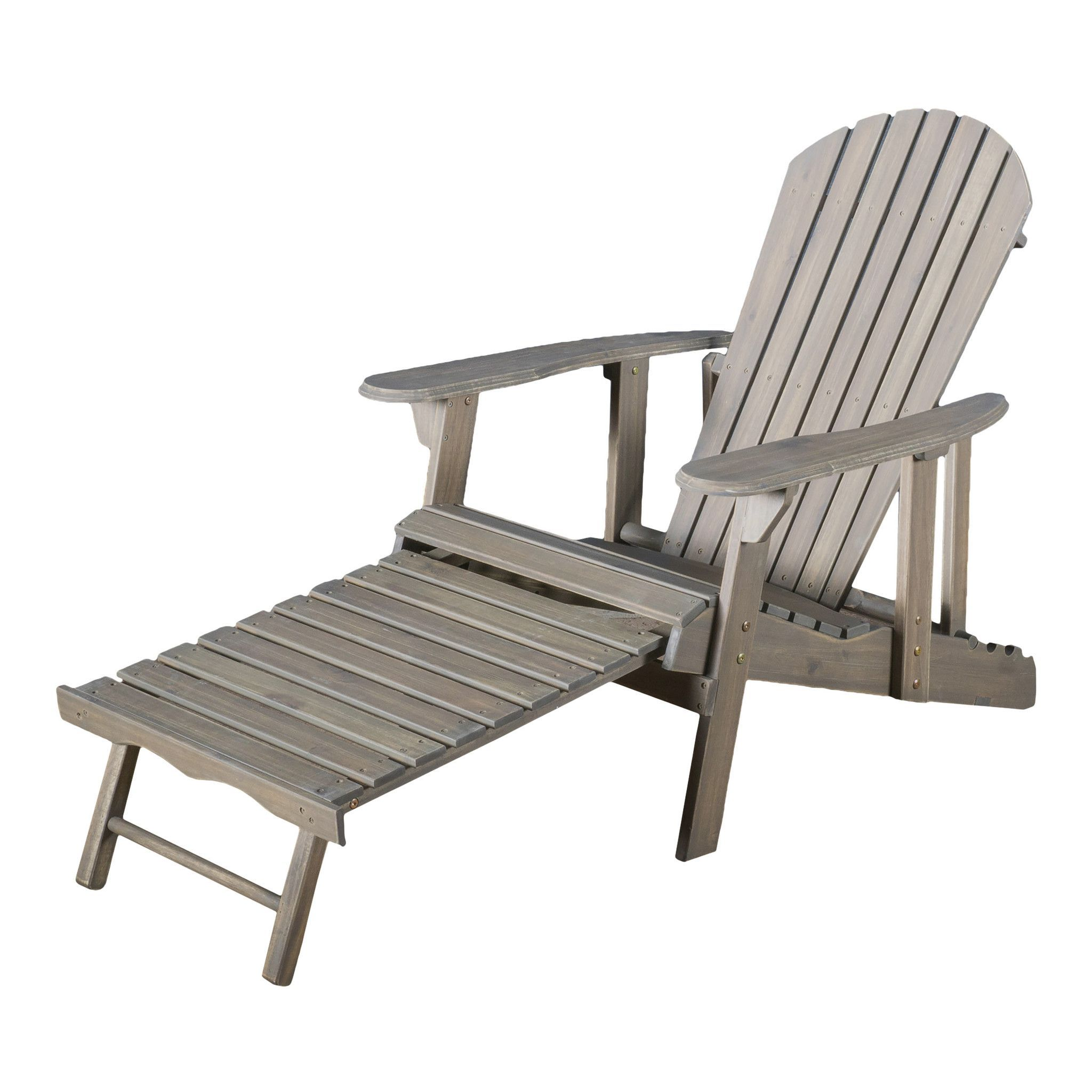 Denise Austin Home Katherine Outdoor Reclining Wood Adirondack Chair With  Footrestst