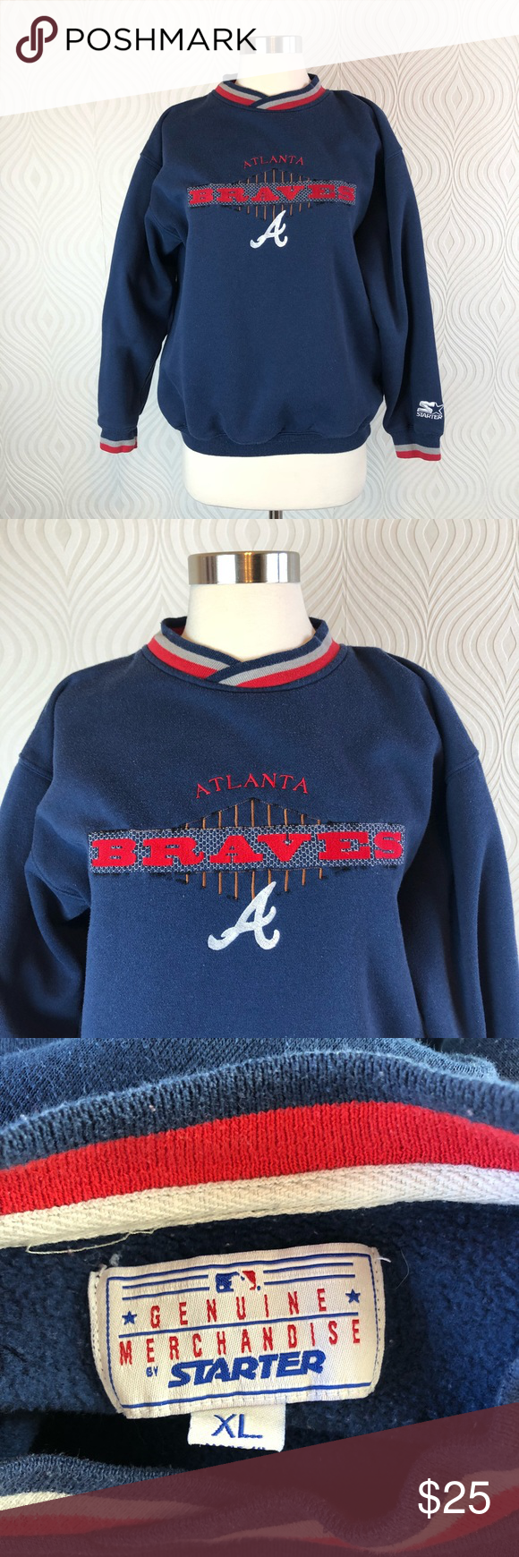 Vintage Starter Atlanta Braves Sweatshirt In 2020 Sweatshirts Vintage Sweatshirt Atlanta Braves