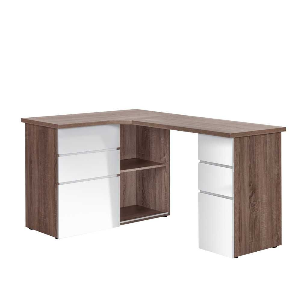 eckschreibtisch in wei eichefarben wei hochglanz jetzt bestellen unter https moebel. Black Bedroom Furniture Sets. Home Design Ideas
