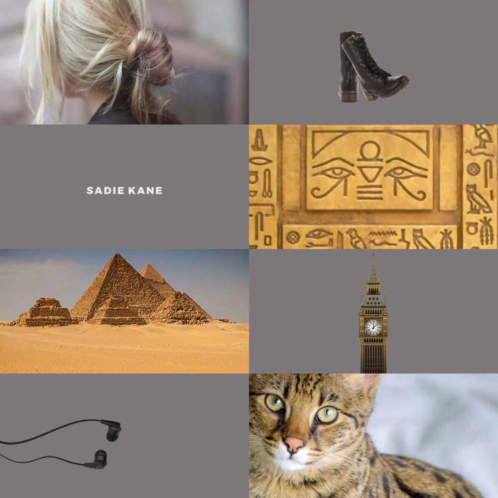 """""""Redesign // The Kane Chronicles: Sadie Kane""""  """" """"I wondered if I would appear on a temple wall painting someday. A blonde Egyptian girl with purple highlights running sideways through the palm trees, screaming """"Yikes!"""" in hieroglyphics as Neith..."""