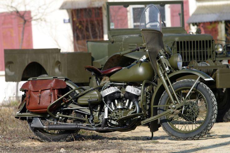 1//6 Harley Davidson WLA 1941 US armée moto de collection rétro en métal