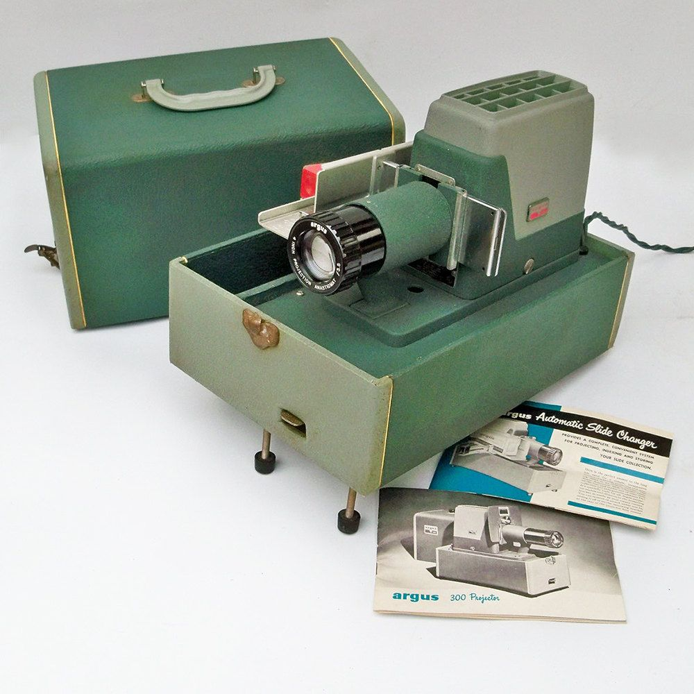 mid century argus 300 automatic slide projector with carrying case rh pinterest com Vintage Argus Slide Projector Crestline 500 Slide Projector