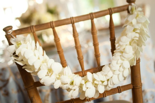 TableArt - Orchid Garland, Chair Detail  {venue: Pomme Radnor I Photographer: Tyler Boyle} www.tableart.net