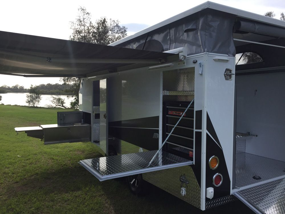 Enclosed Motorcycle Trailers That Pack A Mean Punch Revolutionise Your Motorcycle Camping Adventur Camping Trailer For Sale Camper Trailers Motorcycle Trailer