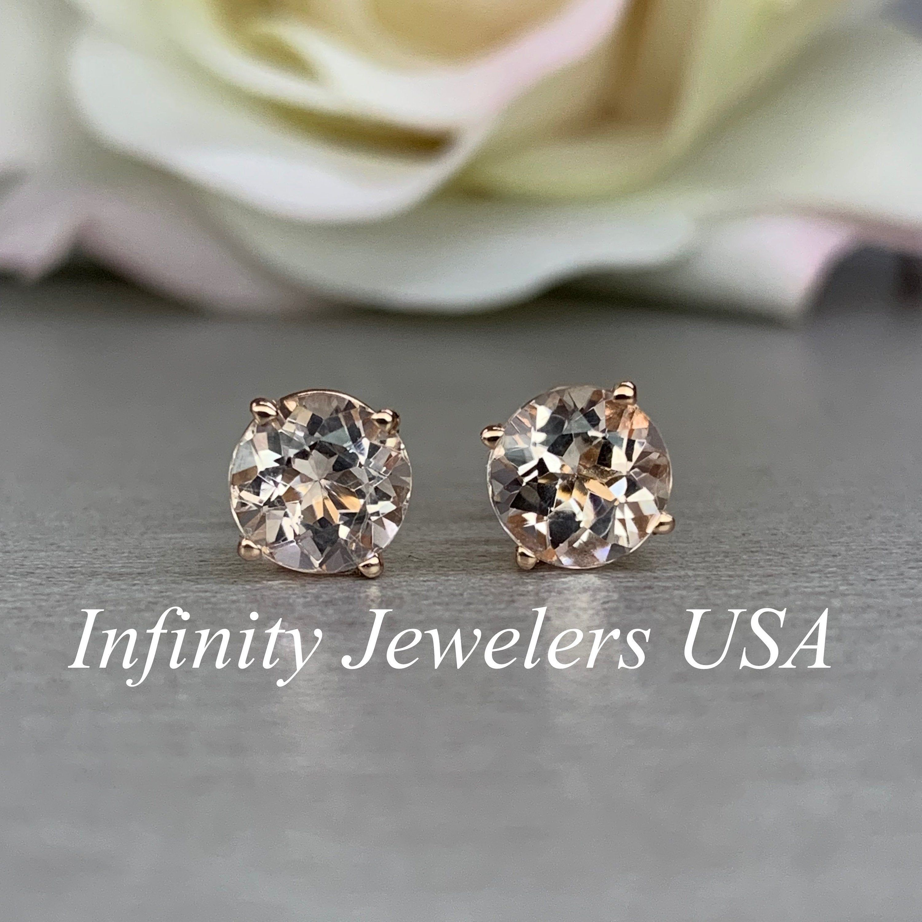 4 Ct Round Earrings Studs Solid 14K Rose Pink Gold Brilliant Basket Screw Back