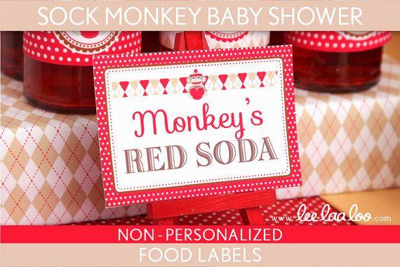 Sock Monkey Baby Shower Food Labels & Bonus Toothpick by LeeLaaLoo, $5.00