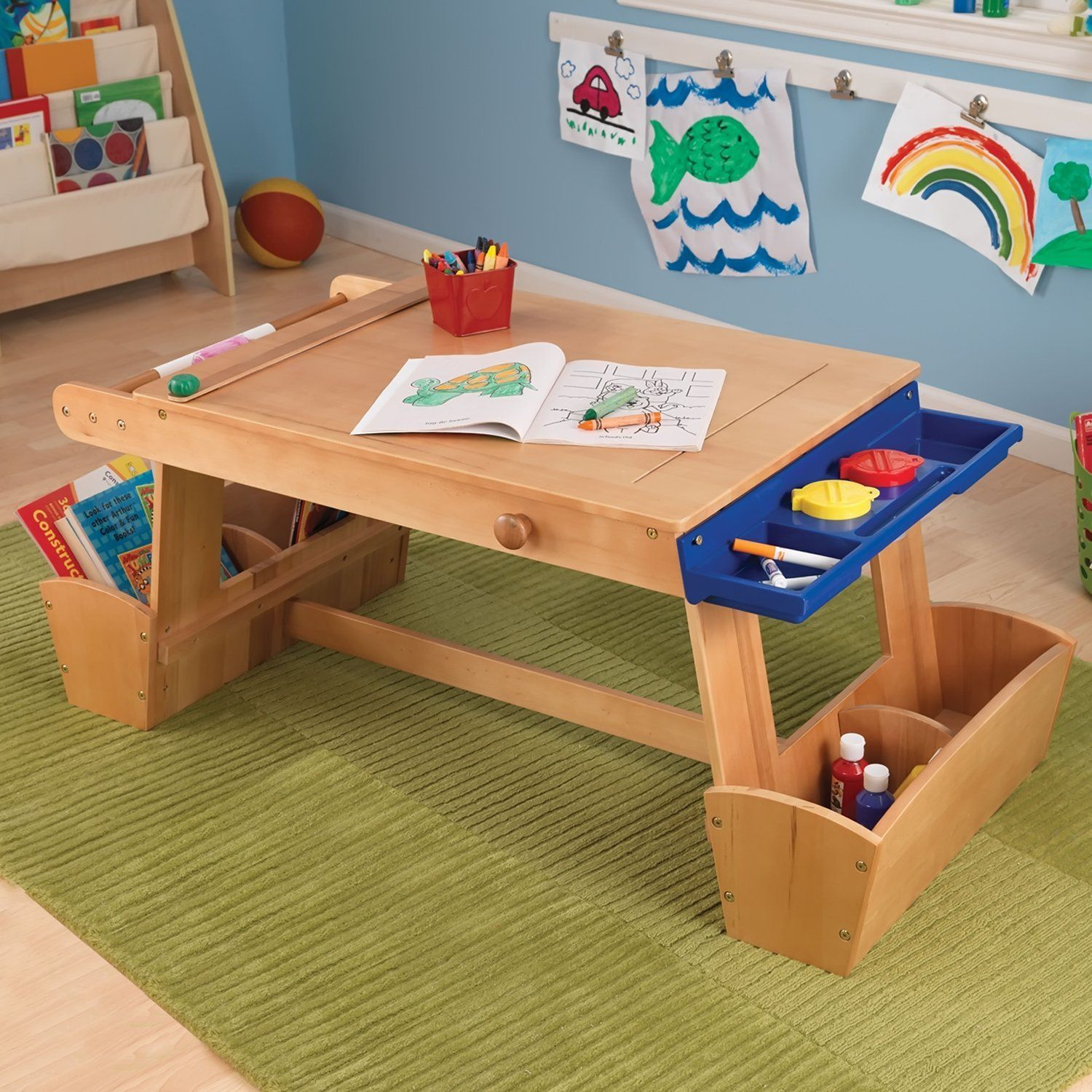 KidKraft Art Table with drying rack and storage. Paper roll tucks ...