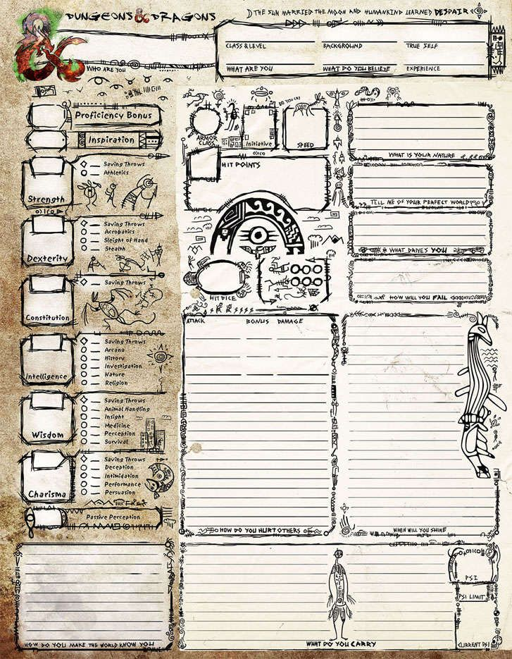 Aboriginal Character Sheet Dungeon Masters Guild