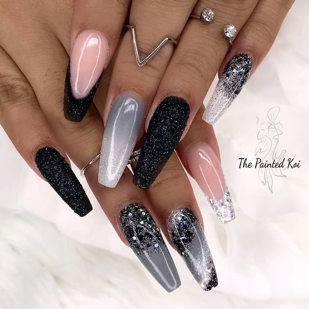 Silver Black Nails Raider Nails Glitter Nails Coffin Nails Silver Nail Designs Black Silver Nails Cute Acrylic Nails