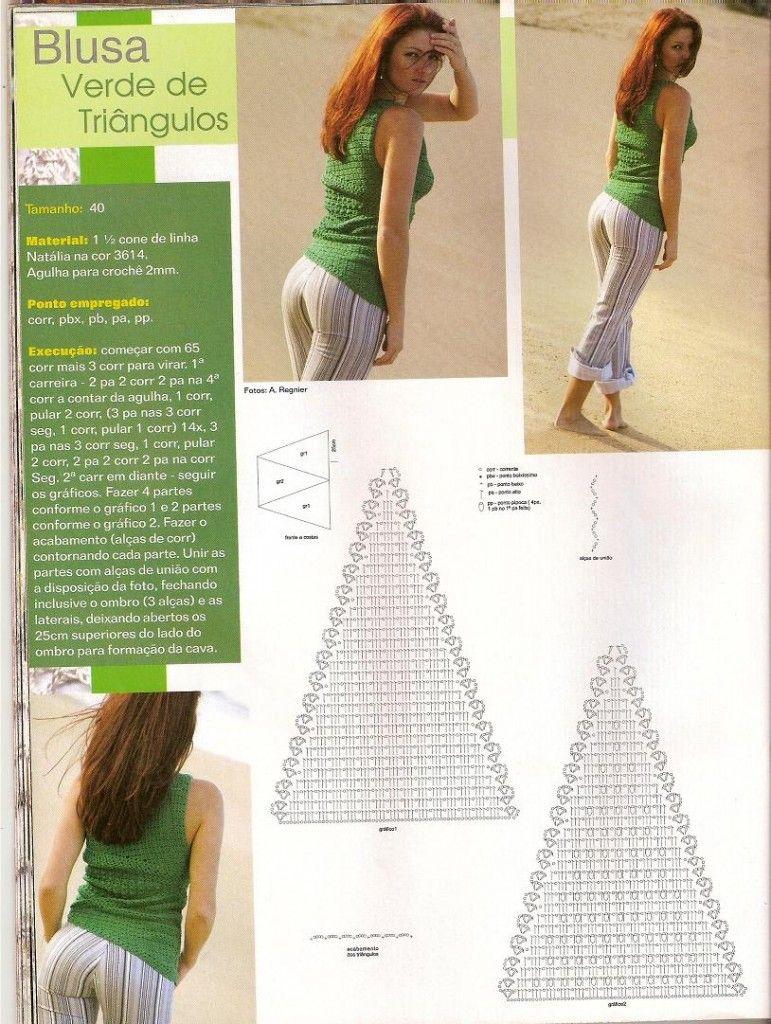 top uncinetto schema triangoli molto