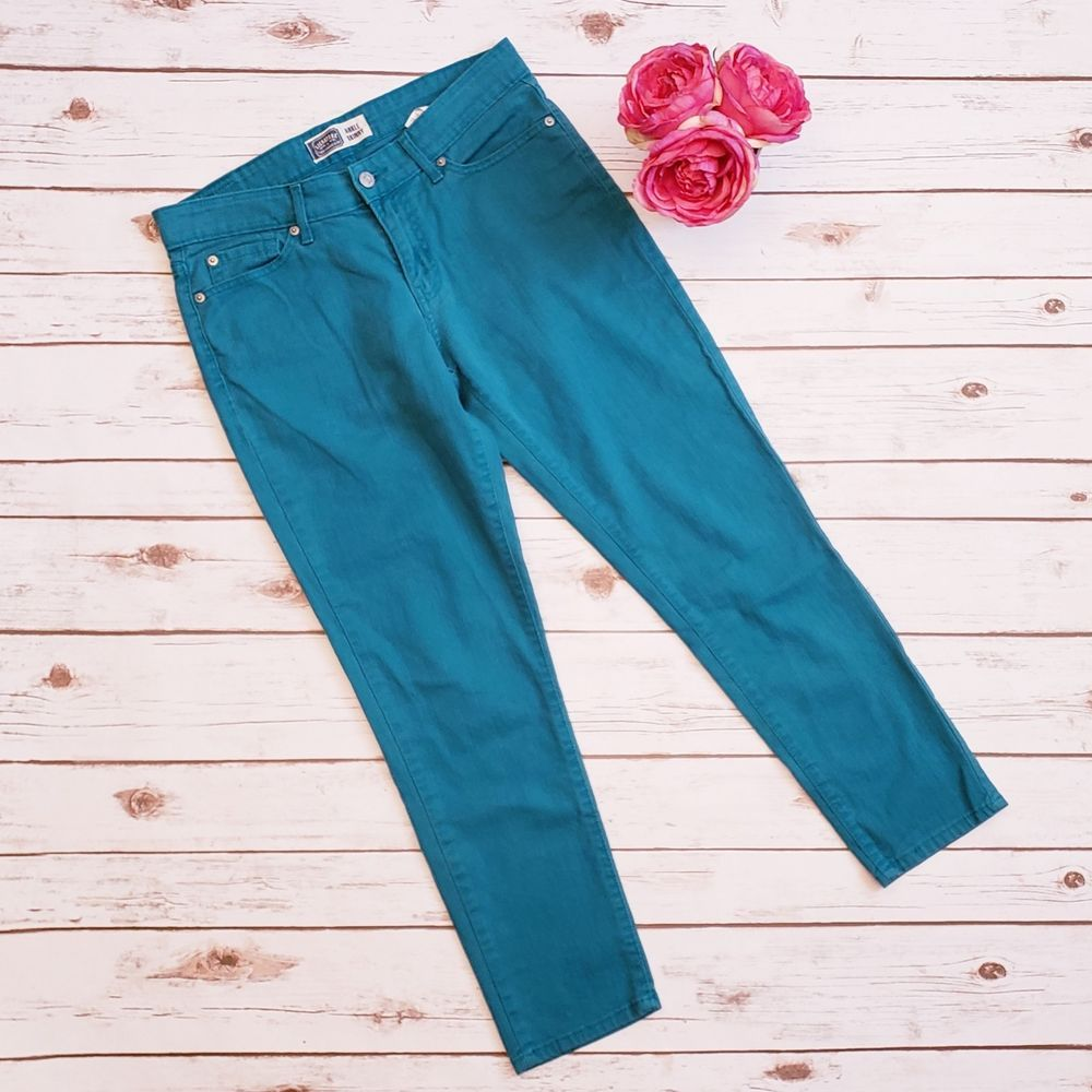 386c652d187 Womens Levi's Ankle Skinny Jean Colored Green Blue Misses Size 8 Stretch # Levis #SlimSkinny