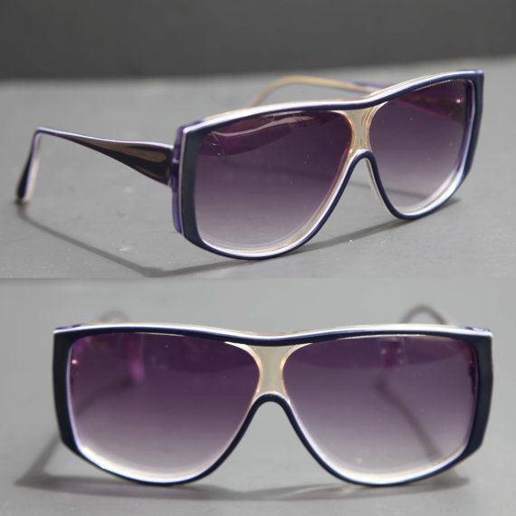 2745bf6637 Vintage Sunglasses MONTE CARLO Purple Designer Avante Garde Edgy Oversized  Brow Fashion for Men or Women
