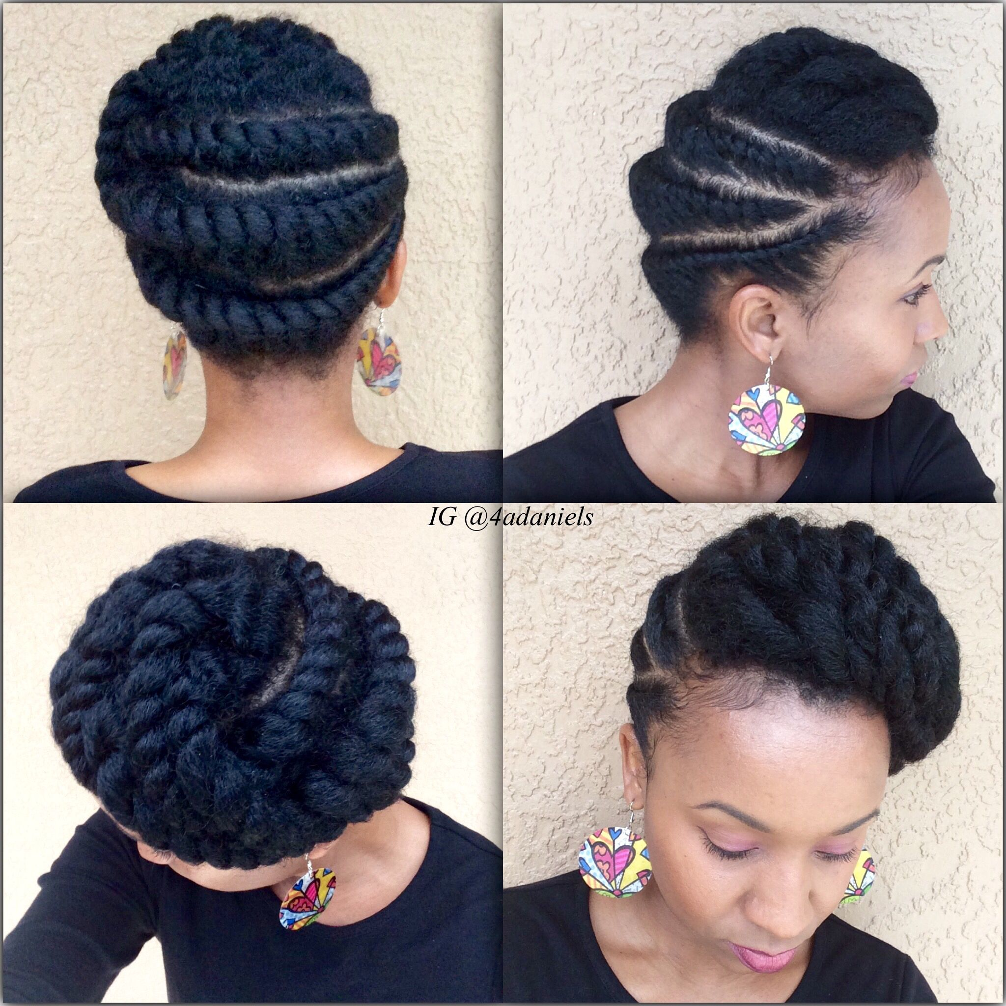 Natural Hair Flattwist Updo Protectivestyle