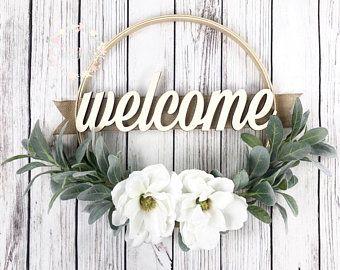 Embroidery Hoop Wreath, Magnolia and Lambs Ear Hoop Wreath, Wall Gallery Wreath, Mantel Wreath, Front Door Wreath, Thankful Wreath