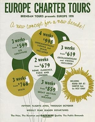 One of our first brochure in 1970 These prices included round-trip