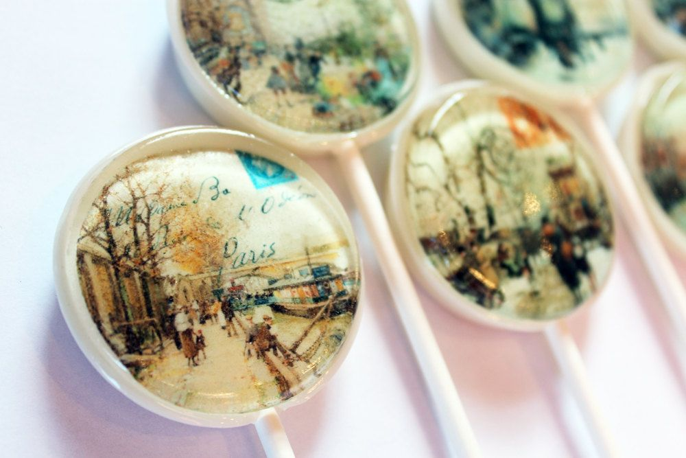 """With love from Paris postcards edible images hard candy lollipops -  2"""" lollipops - 5 pc. - MADE TO ORDER. $12.00, via Etsy."""