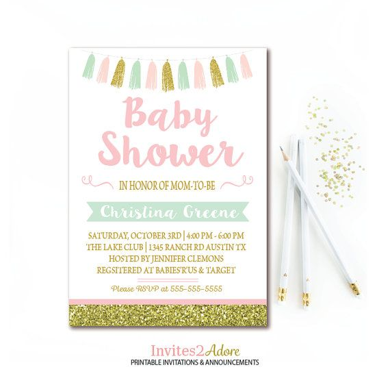 Mint Pink Gold Baby Shower Invitation Gold Glitter Tassel Girl