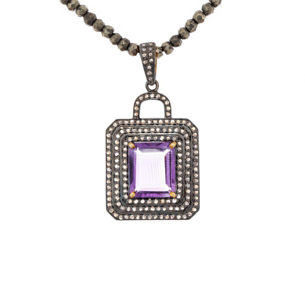 Kala pendant u modern moghul emerald cut amethyst set with rows of