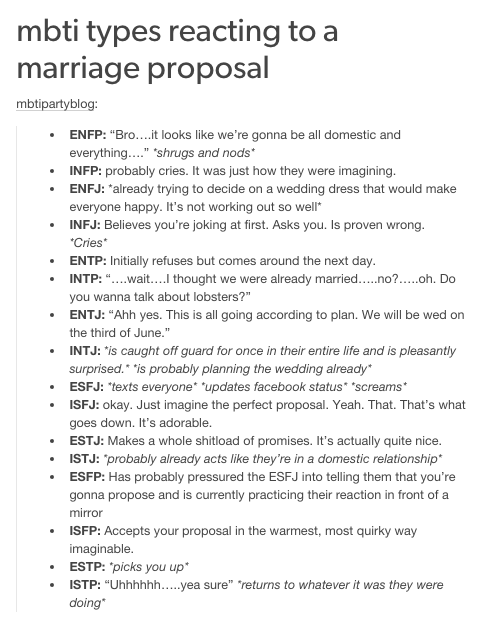 MBTI types reacting to a marriage proposal...this is so accurate