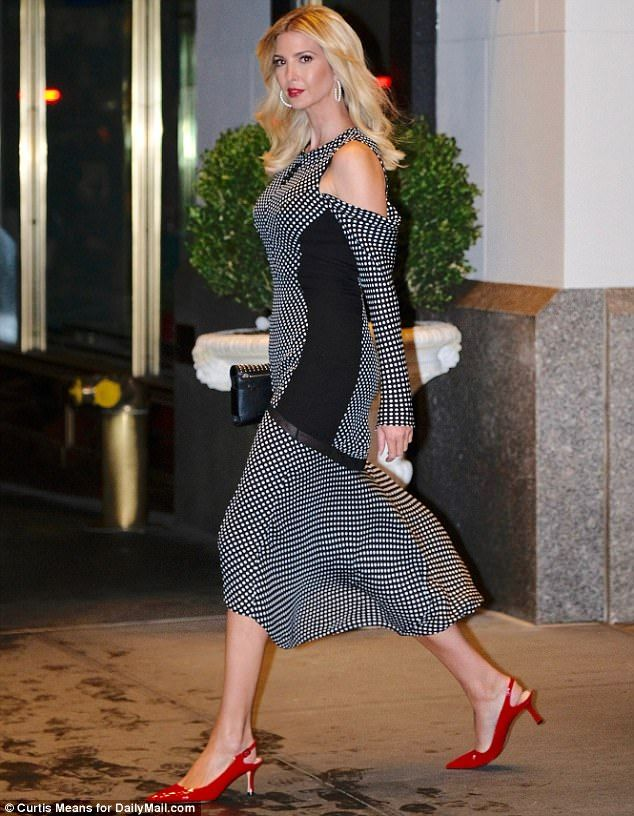 0d5d5c60478 Ivanka Trump is wearing this on the evening of Sept 19 2017. black and  white cold-shoulder dress