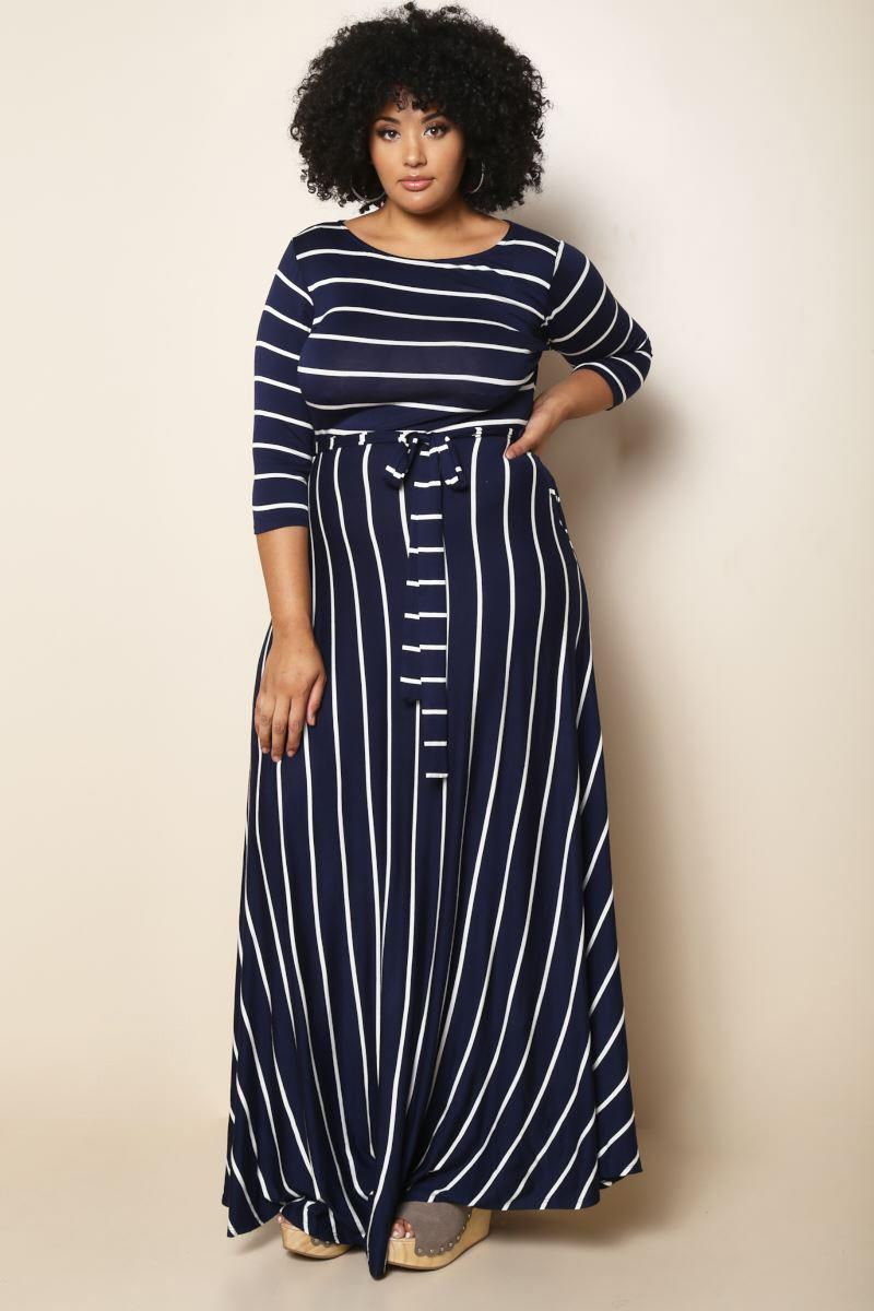A chic and simple plus size maxi dress, featuring a cool ...