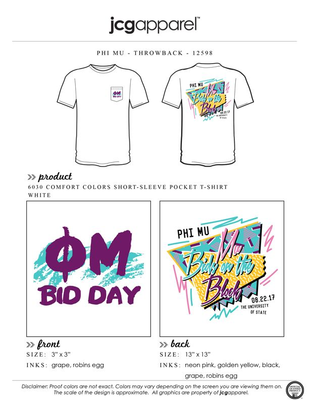 JCG Apparel : Custom Printed Apparel : Phi Mu Throwback T-Shirt #phimu #throwback #mubidsontheblock #retro #80s #90s #bidday