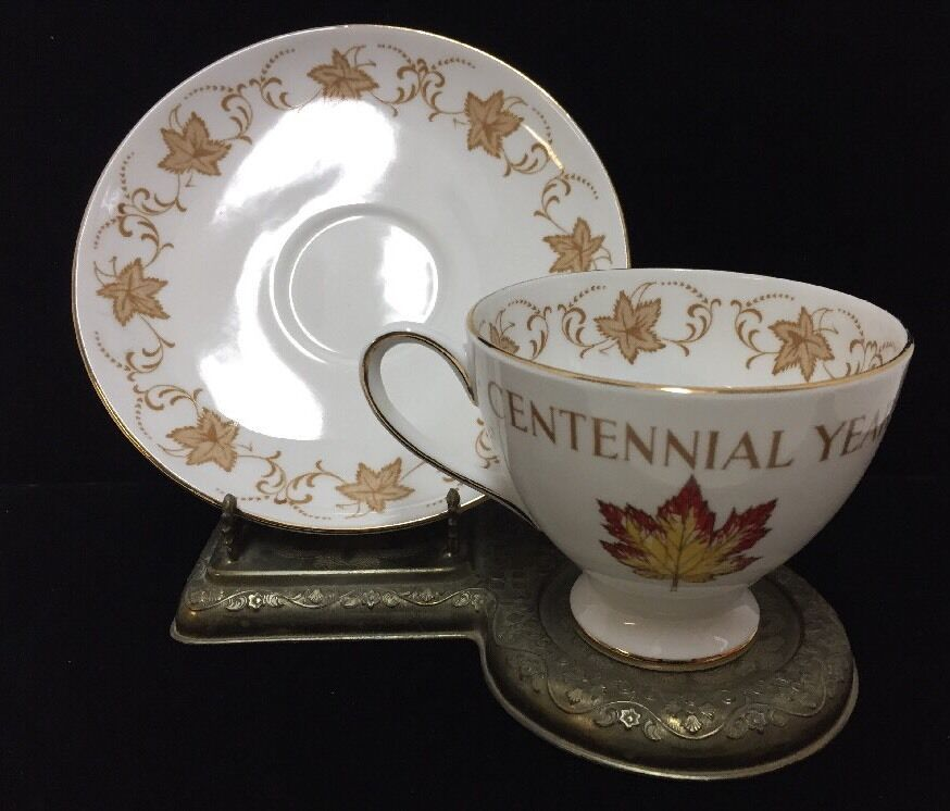 Royal Chelsea Cup and Saucer Canada Centennial 100 Years