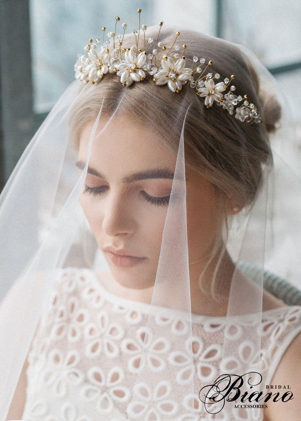 bridal pearl crown, wedding diadem, bohemian hairpiece