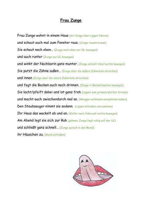Kindergarten Frau Zunge (MuMo-Gedicht) Mundmotorik Vorschule Frau Kindergarten ... - Welcome to Blog